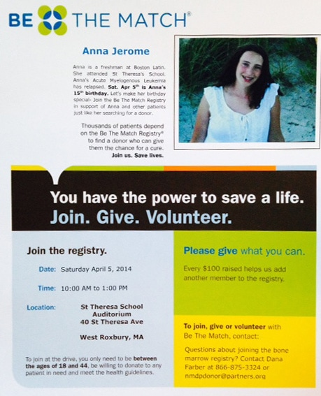 Bone Marrow Drive for Anna Jerome