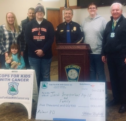 CFKWC and Mass. Police Department make $5,000 donation to 15-year-old Jacob Beauparlant