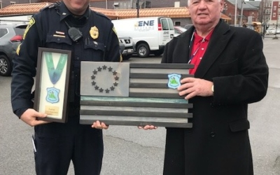 CFKWC presented Sgt. James Harkins of the Peabody PD with two CFKWC plaques
