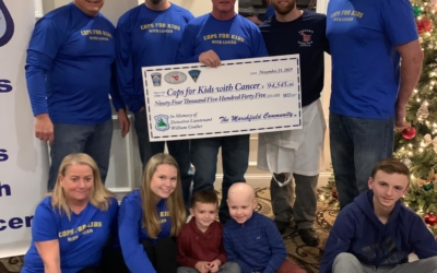 Haddad's in Marshfield, the Marshfield Cops for Kids Team present a $94K check to CFKWC