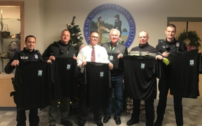 Sgt. O'Brien and Scituate Police Officers proudly display their No Shave November t-shirts