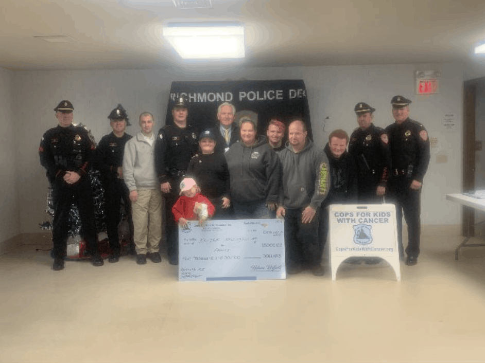 CFKWC goes to the Richmond, RI. PD to make $5K donation to 9 yr old Kayden Wallington.