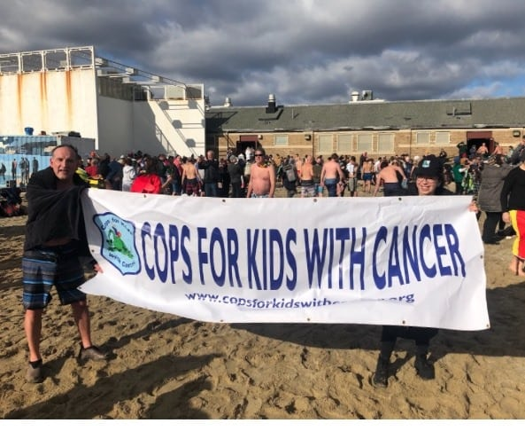 CFKWC represented well by Kevin Bakas of Bertucci's in Polar Plunge