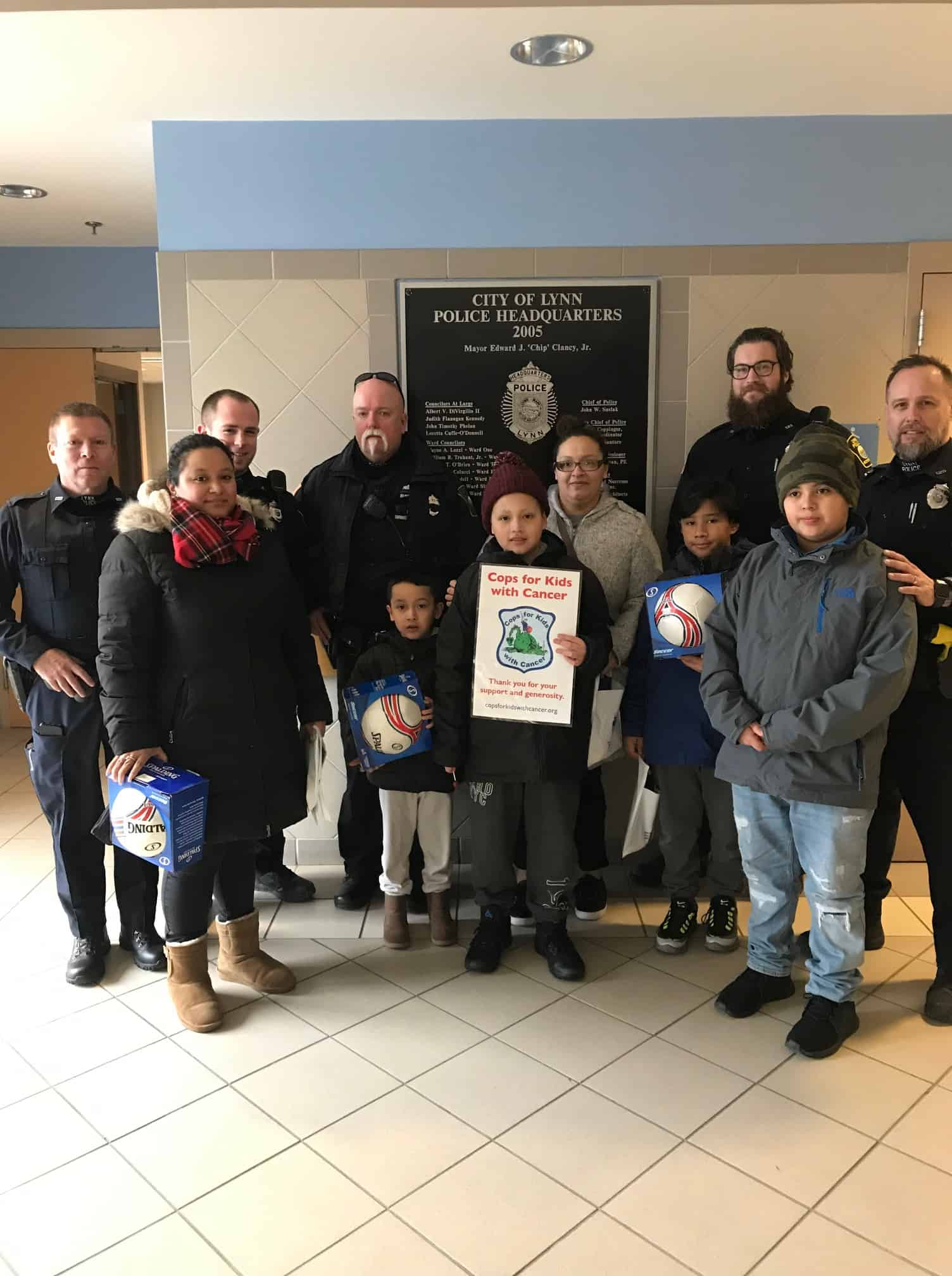William Castillo and his family stopped by the LYNN Police Department to thank them for a donation