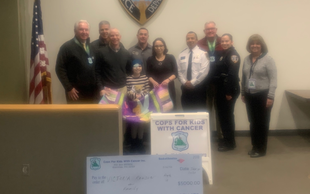 CFKWC make donation to Victoria Rawson, 10 yrs., and her parents at the Public Safety Complex in Providence, RI