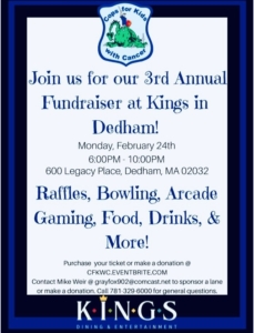 3rd Annual Fundraiser at Kings in Dedham @ Kings Dining & Entertainment | Dedham | Massachusetts | United States
