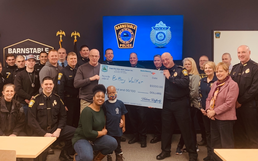 CFKWC –Went to the Barnstable Police Department and made a donation to Jace Jones, age 5 yrs. and his family.