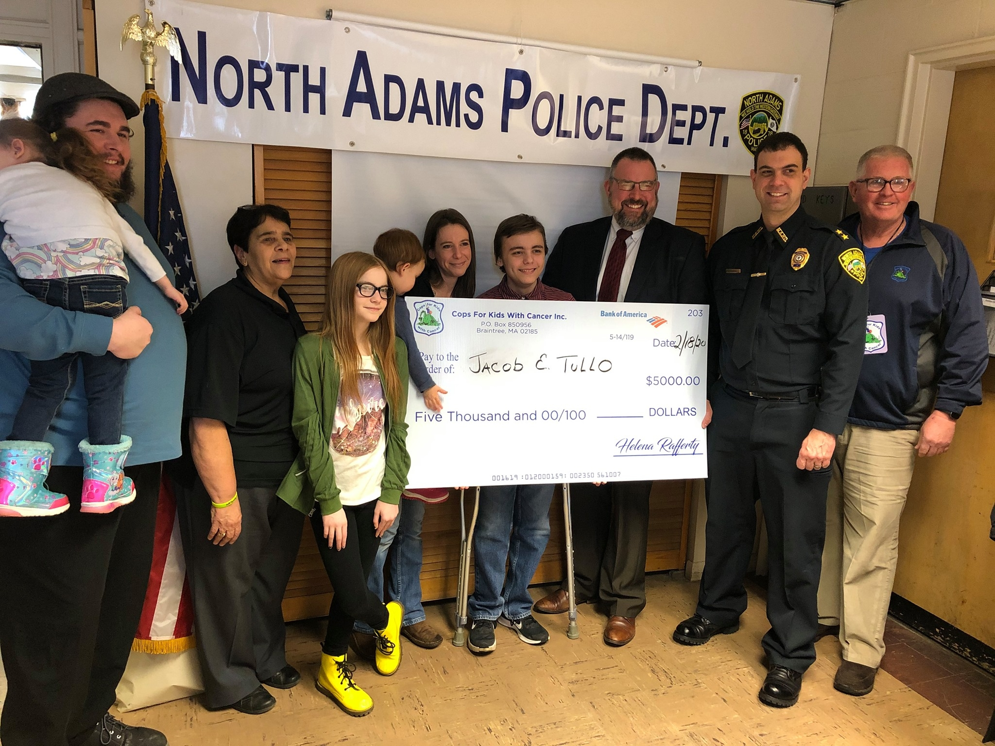 CFKWC goes to the North Adams Police Dept. and made a donation to 15 year old Jake Tullo and his family.