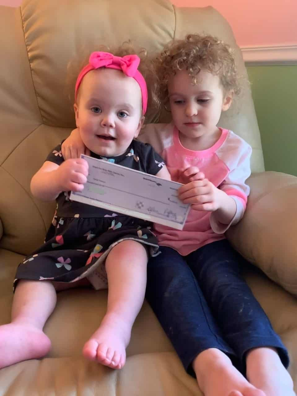 CFKWC makes a $5,000 donation to 2-year-old Grace Theroux and her Big Sister Lily, of NH.