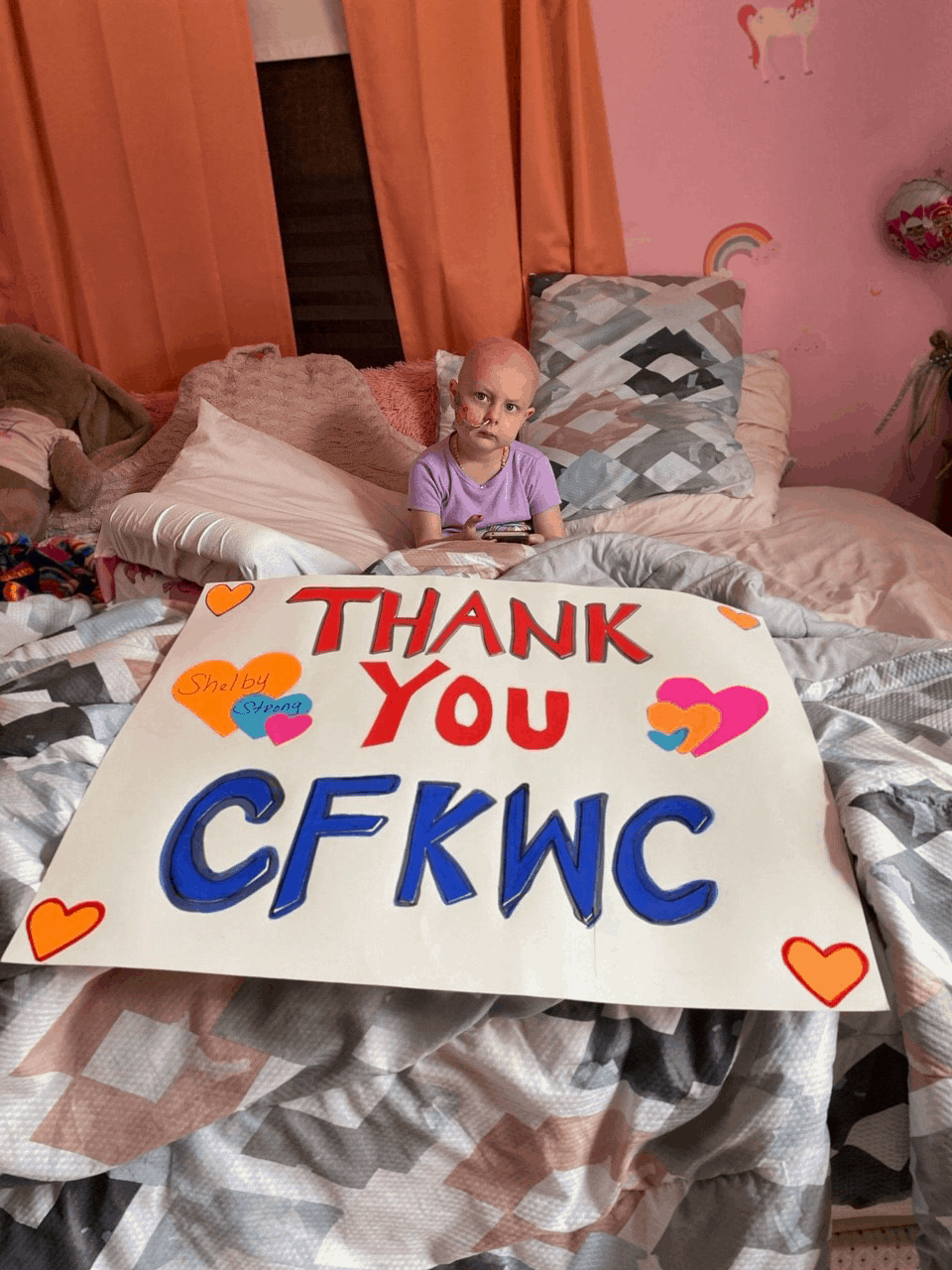 "Shelby and her family send ""thank you"" photo to CFKWC after recent donation to their family"